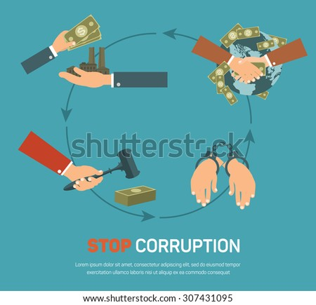 Corruption infographic banner set with corrupt business and politics flat elements isolated vector illustration - stock vector