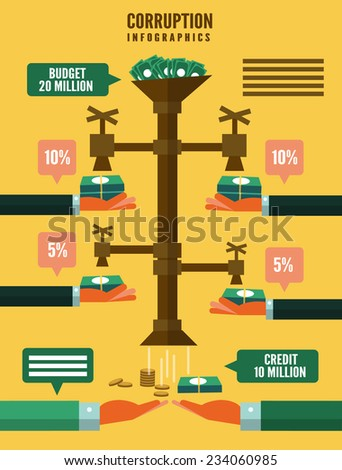 Corruption infographic. flat design element. vector illustration - stock vector