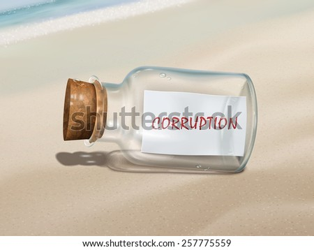 corruption message in a bottle isolated on beautiful beach - stock vector