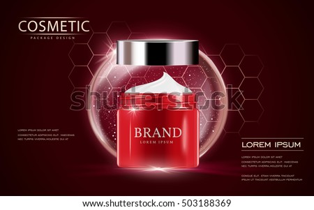 Cosmetic ads template, cream container mockup isolated on scarlet background. 3D illustration. bubble and hexagon elements.