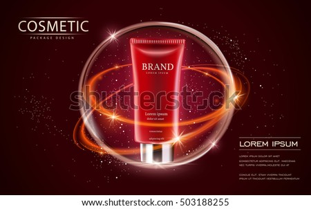 Cosmetic ads template, cream tube mockup isolated on scarlet background. 3D illustration. sparkling effect on the background.