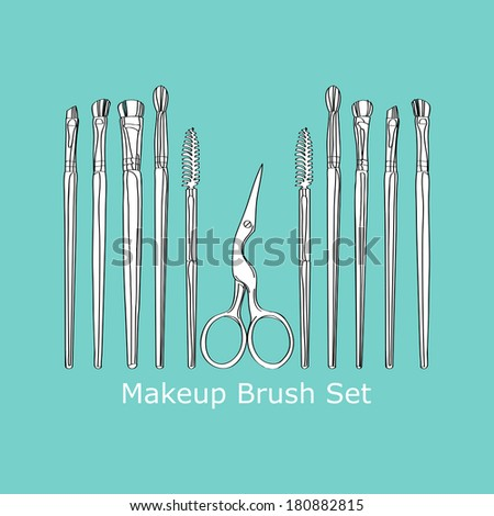 cosmetic brush and scissors - stock vector