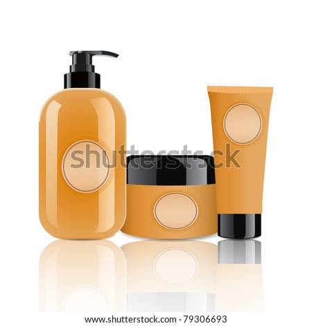 Cosmetic containers set - stock vector