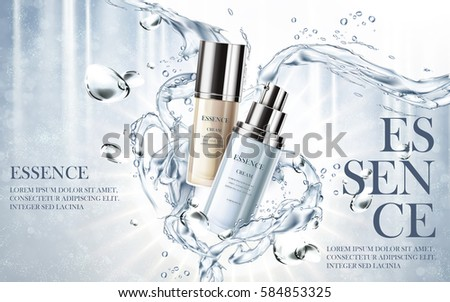 cosmetic essence cream contained in two small bottles, water background 3d illustration