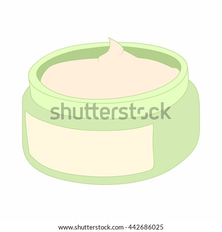 Cosmetic face cream container icon in cartoon style on a white background - stock vector