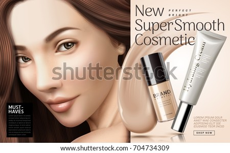 Cosmetic foundation ads, foundation cream texture with container and brunette in 3d illustration, elegant design for fashion industry