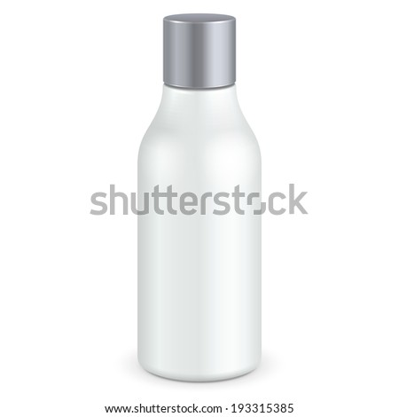 Cosmetic Or Hygiene Grayscale White Gray Chrome Lid Plastic Bottle Of Gel, Liquid Soap, Lotion, Cream, Shampoo. Ready For Your Design. Illustration Isolated On White Background. Vector EPS10  - stock vector