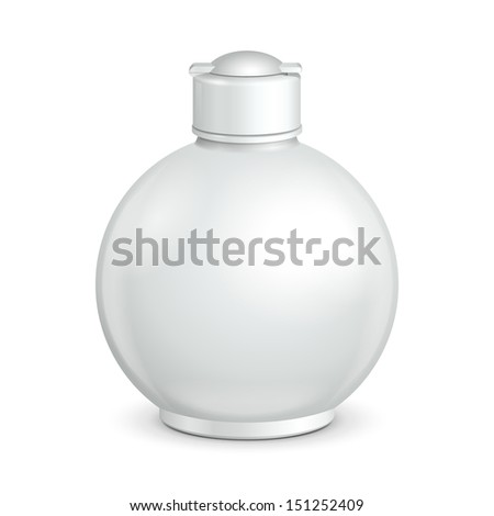 Cosmetic Or Hygiene Grayscale White Round Plastic Bottle Of Gel, Liquid Soap, Lotion, Cream, Shampoo. Ready For Your Design. Illustration Isolated On White Background. Vector EPS10  - stock vector