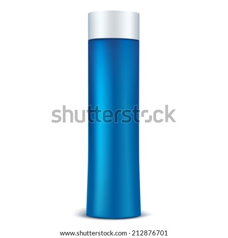 Cosmetic packaging. Isolated on a white background. Blue bottle with white cap. Packaging for cream, lotion, shampoo, conditioner, perfume, deodorant. - stock vector