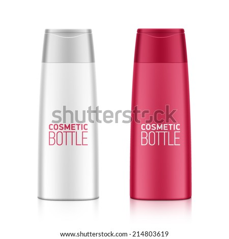 Cosmetic packaging, plastic shampoo or shower gel bottle template for your design. Vector. - stock vector