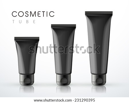 cosmetic packaging tube set over white background  - stock vector
