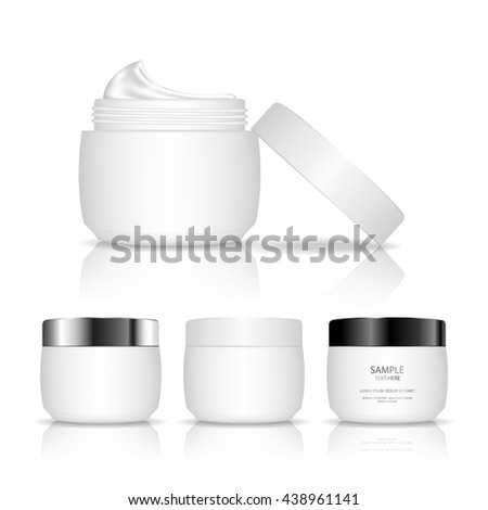 Cosmetic plastic jar isolated on white background. Skin care bottles for gel, liquid, lotion, cream. Beauty product package, vector illustration.