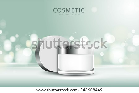 cosmetic product poster, green bottle package design with moisturizer cream or liquid, sparkling background with glitter polka, vector design.
