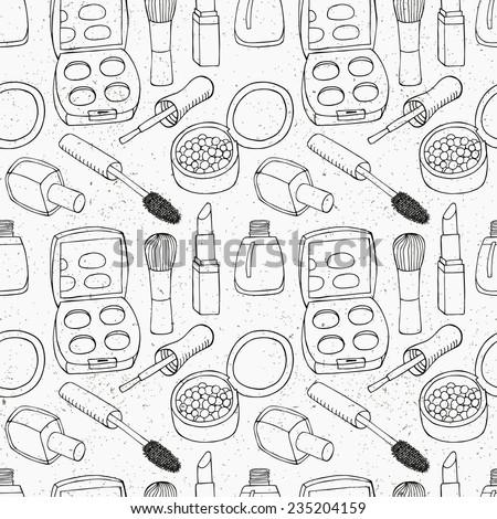 Cosmetic seamless pattern. Vector illustration. - stock vector