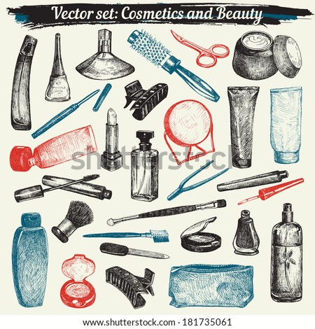 Cosmetics And Beauty Hand-drawn Doodles Collection Vector - stock vector