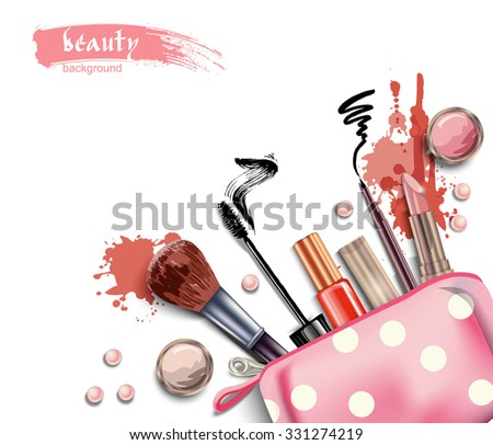 Cosmetics and fashion background  with  cosmetic bag and  make up artist objects: lipstick, eye shadows, eyeliner, brush , nail polish. Vector illustration. - stock vector