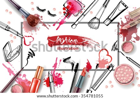 Cosmetics and fashion background with make up artist objects: lipstick, cream, brush.  With place for your text .Template Vector. - stock vector