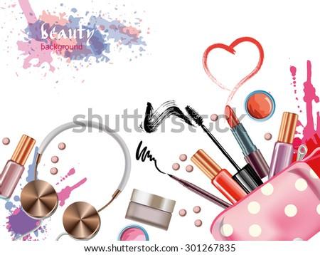 Cosmetics  and fashion background  with    make up artist objects: lipstick, eye shadows, mascara ,eyeliner,  nail polish. Vector illustration. - stock vector
