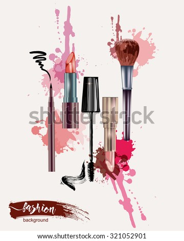Cosmetics and fashion background with make up artist objects: lipstick, mascara eyeliner.  With place for your text. Template Vector. - stock vector