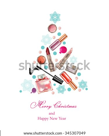 Cosmetics and fashion, Christmas And New Year background with  a Christmas tree made objects cosmetics. Template Vector. - stock vector