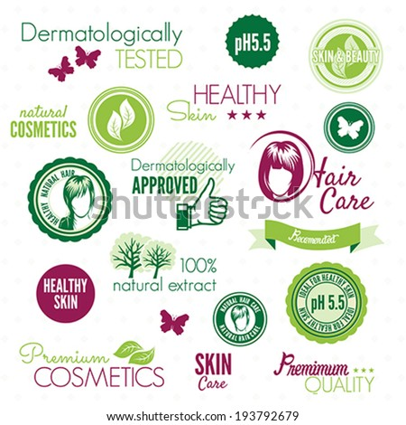 Cosmetics labels - stock vector