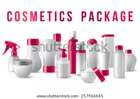 cosmetics packages border with pink caps