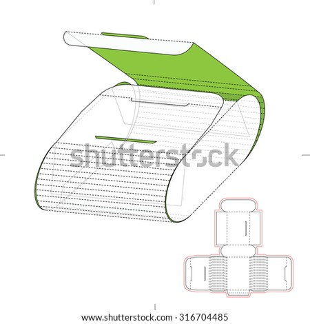 Cosmetics Retail Box with Die Line Template - stock vector