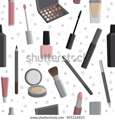 Cosmetics. Seamless pattern with cosmetics. All elements are  hidden under mask. Pattern are not cropped and can be edited. Beauty salon. Beauty, care.