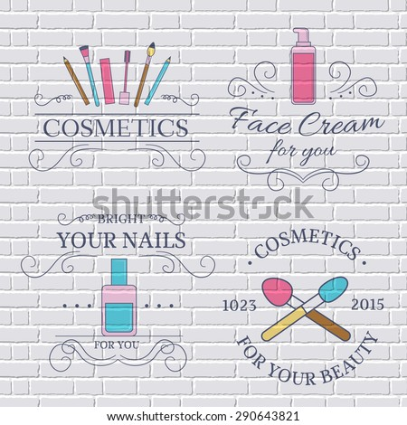 cosmetics set label template of emblem element for your product or design, web and mobile applications with text. Vector illustration with thin lines isolated icons on stamp symbol.  - stock vector