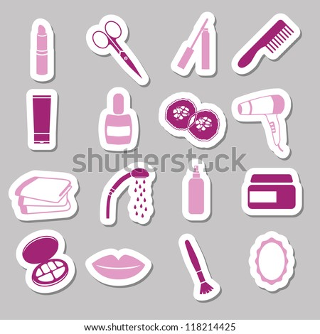 cosmetics stickers - stock vector