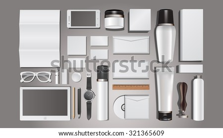 Cosmetics templates. Corporate identity templates:blank, business cards, disk, envelope, smart phone, pen, badge, cup, brand-book. - stock vector
