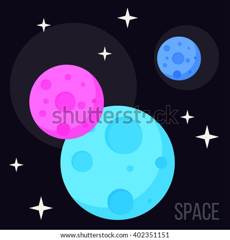 Cosmic background. Bright planets in open space. Cosmos and space theme. Blue and pink planets. Childish cosmic space cover. Cartoon planets in open space isolated on black. Space exploration theme. - stock vector