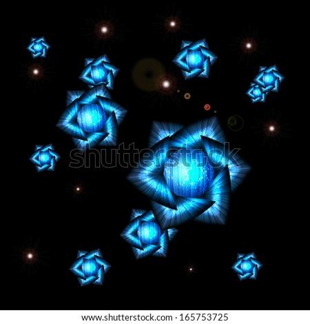 cosmic flower - background - stock vector
