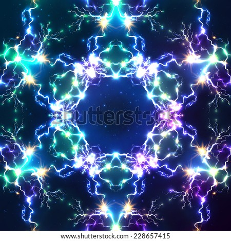 Cosmic fractal lightning vector abstract seamless pattern tile - stock vector
