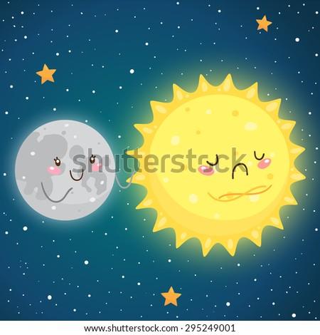Cosmic friendship: happy Moon and sad Sun, vector. - stock vector