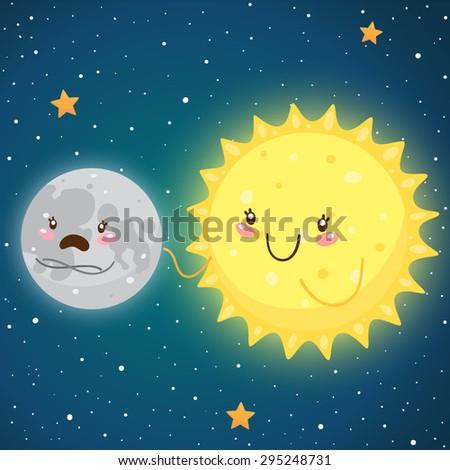 Cosmic friendship: sad Moon and happy Sun, vector. - stock vector