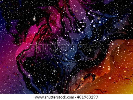 Cosmic galaxy watercolor background with stardust and shining stars. Vector illustration for music album, book cover, poster, flyer design. - stock vector