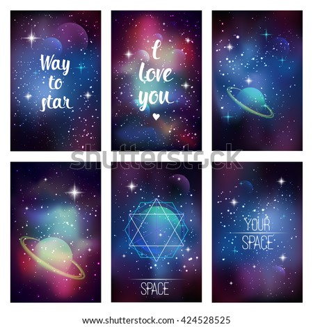 Cosmic greeting card. Way to star, I love you, Space typography on space background with sacred geometry, stars and planets - stock vector