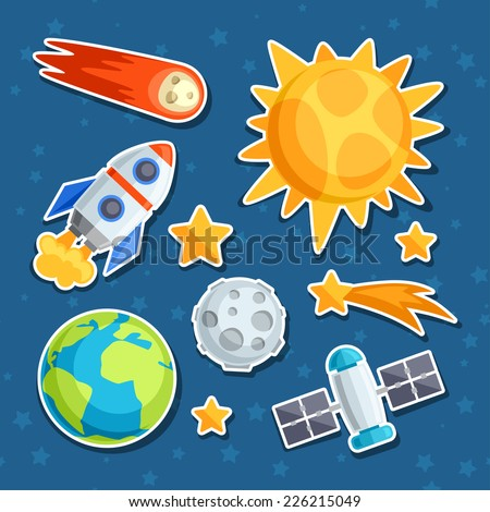 Cosmic icon set of solar system, planets and celestial bodies. - stock vector
