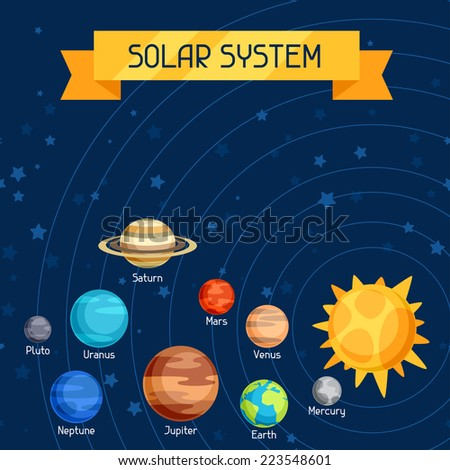 Cosmic illustration with planets of the solar system. - stock vector
