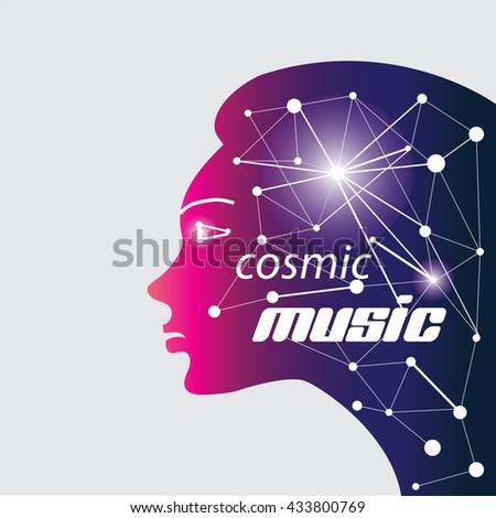 Cosmic relax music - stock vector