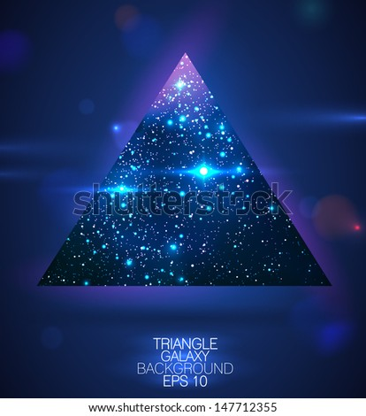 Cosmic triangle shape background with flares - vector illustration - stock vector