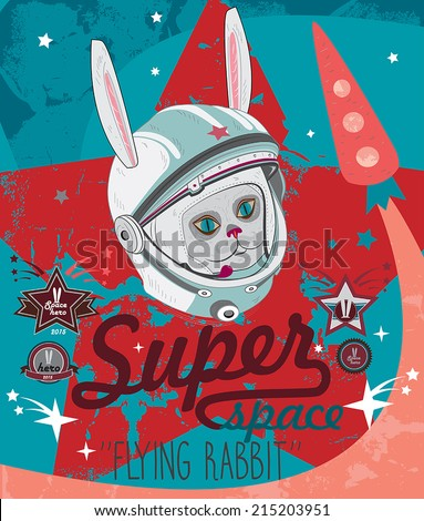 Cosmonaut rabbit. Vector illustration. - stock vector