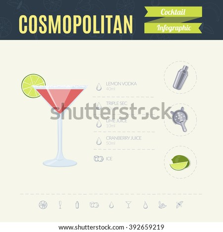 Cosmopolitan. Cocktail infographic set. Vector illustration