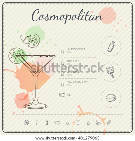 Cosmopolitan. Cocktail infographic set. Vector illustration. Colorful watercolor background