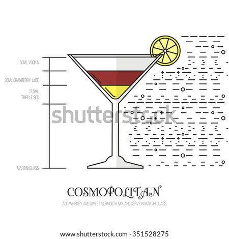 Cosmopolitan - Thin Flat Line Style Cocktail Recipe. Simple instructions on how to prepare the popular drink. Suitable for wall of your bar or on the web.