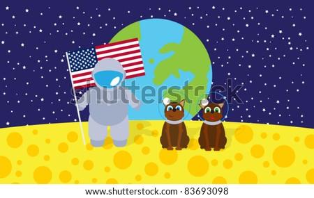 Cosmos, Earth, Moon and astronauts - stock vector