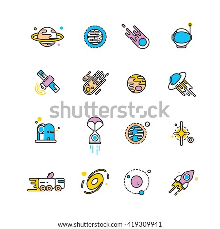Cosmos exploration flat icons with planets and rockets. Exploration interstellar and icon set universe vehicle for exploration space. Vector illustration - stock vector