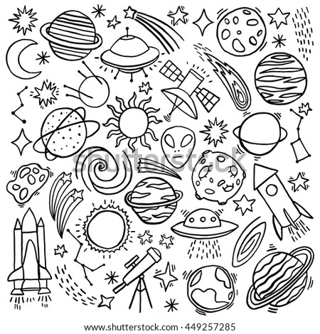 Cosmos hand-drawn doodle set. Vector illustration