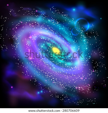 Cosmos space luminous spiral galaxy astronomical scientific poster with rotating disk of stars dust abstract vector illustration - stock vector